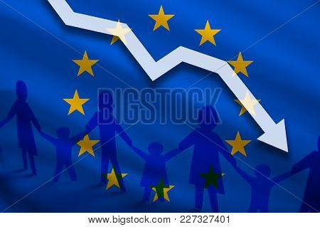 European Union Flag Background Of The Arrow Chart Down. Decrease In The Number Of The Country's Rape