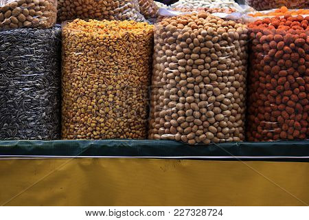 A Cart Of Various Salty Roasted Nuts In An Old Souk In Tripoli, Lebanon.