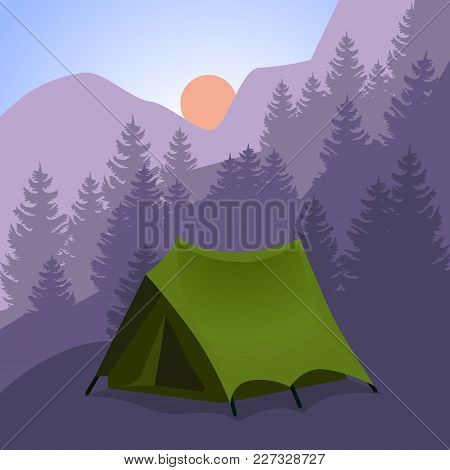 Camping Cartoon. Tourist Tent In Mountains.background For Travel Trekking Hiking, Sports, Nature, Ou