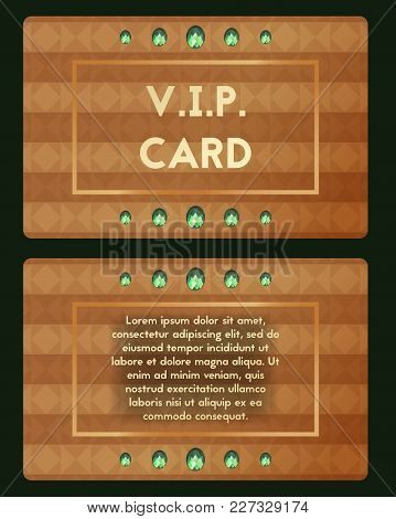 Visiting Card With Emerald Vector Illustration. Luxury Cutaway With Green Diamond.