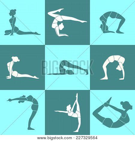 Various Silhouette Pose Yoga Posture Vector Illustration Graphic Design Set