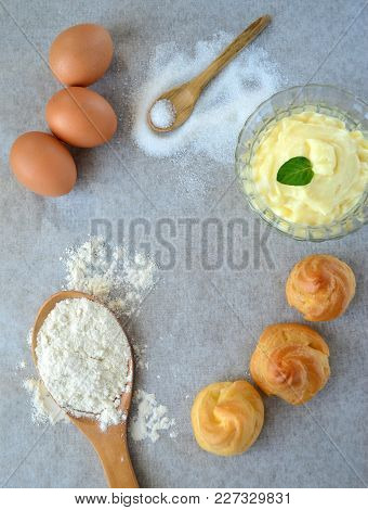 Ingredients For Preparation Of Choux Pastry And Custard, French Cuisine
