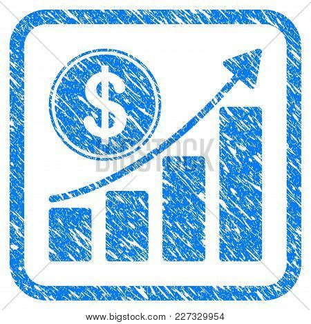 Dollar Growth Chart Rubber Seal Stamp Watermark. Icon Vector Symbol With Grunge Design And Corrosion