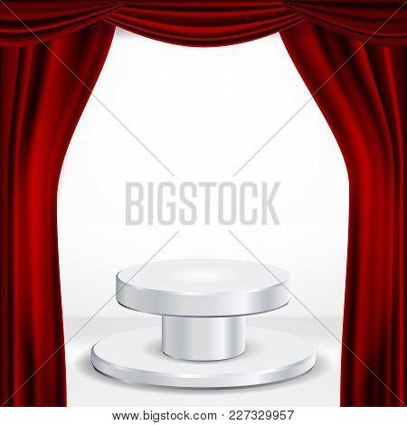 Podium Under Red Theater Curtain Vector. Ceremony Award. Presentation. Pedestal For Winners. Illustr