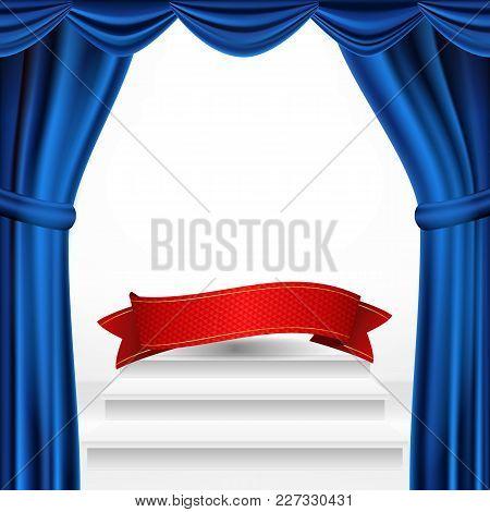 Winners Podium, Theater Curtain Vector. Awards Ceremony Pedestal. White Stage. Empty Platform. Troph