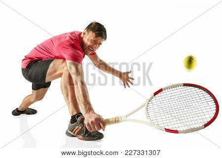 I Am Saving This Ball Now. Player Lunge, Game Of Defense. The One Caucasian Fit Man Playing Tennis A