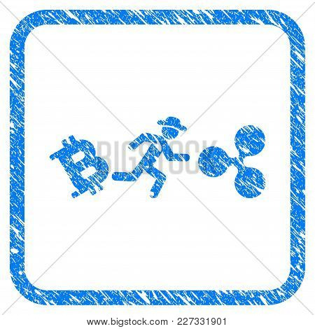 Gentleman Run From Bitcoin To Ripple Rubber Seal Stamp Imitation. Icon Vector Symbol With Grunge Des