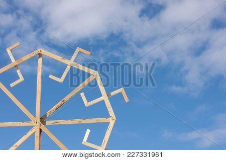 Baltic Culture Symbol Against Blue Sky