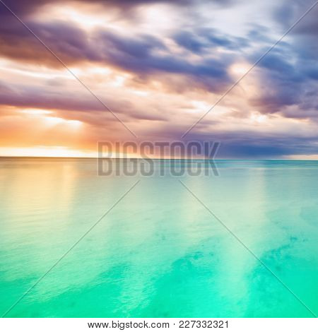 Amazing seascape at sunset. Mauritius island. Panorama landscape