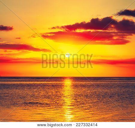 Amazing seascape at sunset. Mauritius.