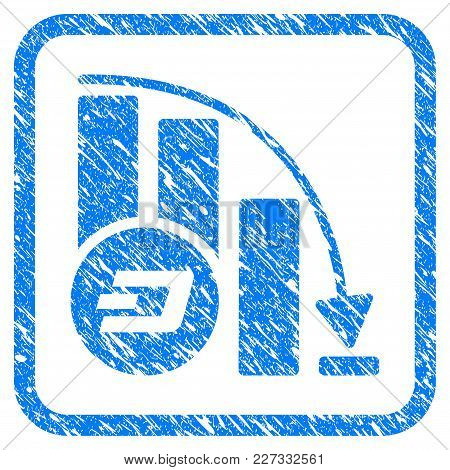 Dashcoin Falling Acceleration Chart Rubber Seal Stamp Imitation. Icon Vector Symbol With Grunge Desi