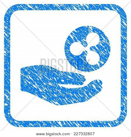 Hand Offer Ripple Coin Rubber Seal Stamp Imitation. Icon Vector Symbol With Grunge Design And Dust T