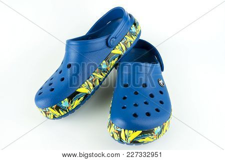 Kuala Lumpur,malaysia - February 17,2018 : A Pair Of Blue Crocs Sandals With Floral Motif Design Iso