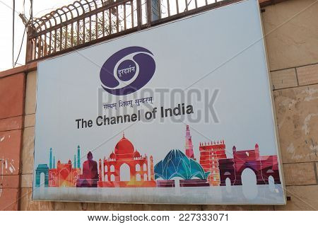 New Delhi India - October 28, 2017: The Channel Of India Signage In New Delhi.