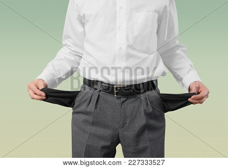 Business Empty Man Businessman Pockets Money Isolated