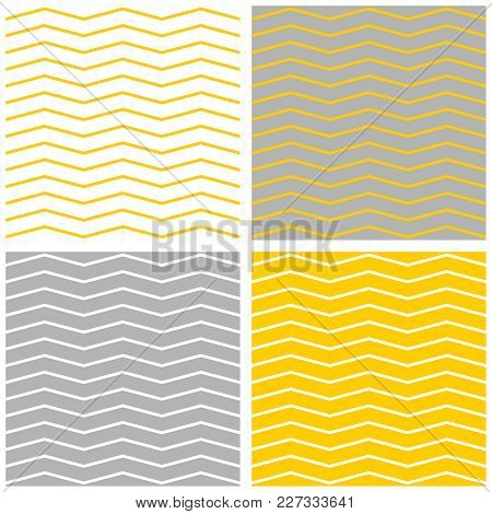 Tile Vector Pattern Set With Pastel Yellow, Grey And White Zig Zag Background