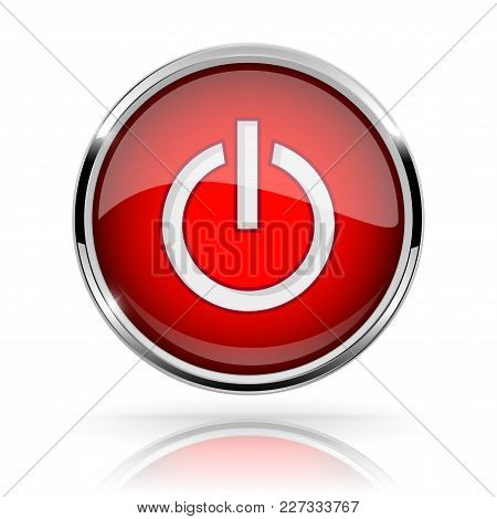 Red Round Media Button. Power Button. Shiny Icon With Chrome Frame And With Reflection. Vector 3d Il