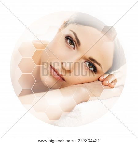 Young And Beautiful Woman In Spa. Collage With Honeycomb Mosaic Tiles. Healing And Massaging Concept