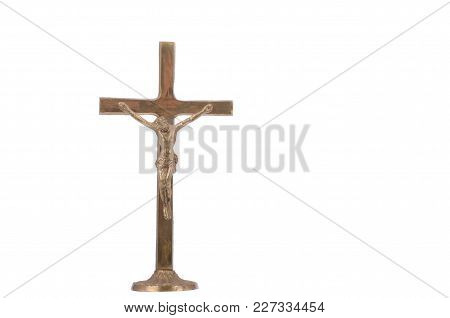 The Sculpture Of The Crucified Jesus Christ Isolated, Christianity Religion Concept.