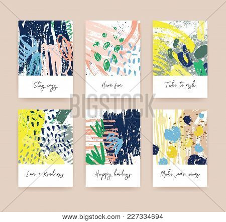Bundle Of Greeting Card Or Postcard Templates With Handwritten Wishes And Abstract Hand Drawn Textur