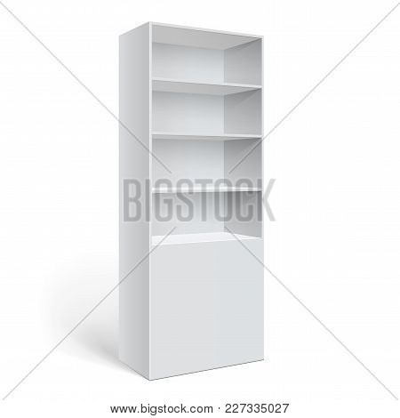 Showcase Display. Retail Shelf Rack. Isolated On The White Background. Mockup Template For Your Desi