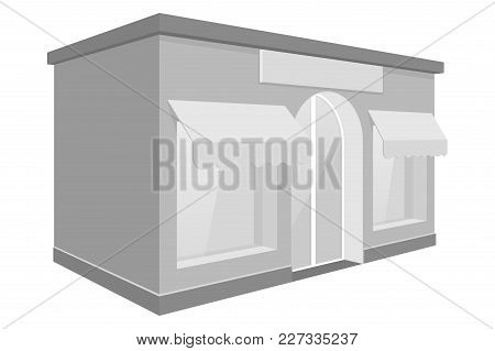 Store Front. Small Shop With Large Window And Awnings. 3d Gray Drawing. Vector Illustration Isolated
