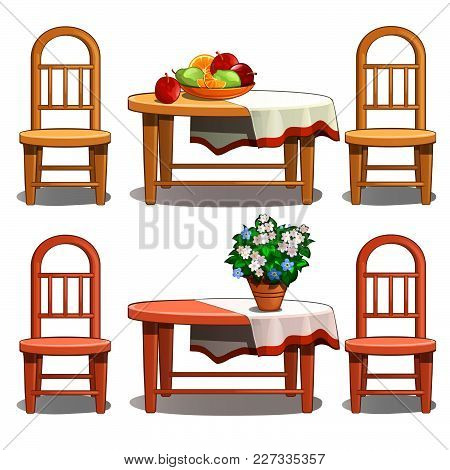 Fruit Plate And A Vase Of Flowers In The Interior In Retro Style. Vector.