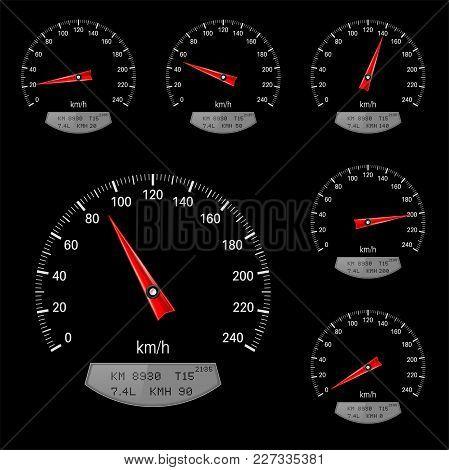Speedometer Scales On Black Background. Vector Illustration