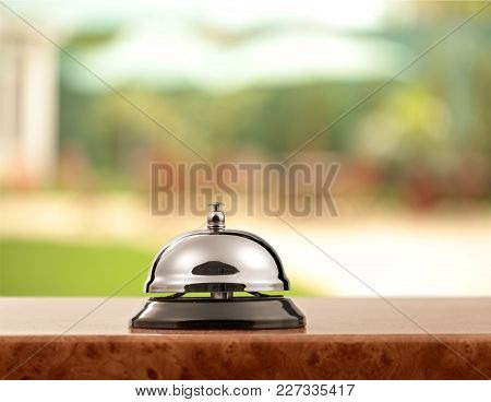 Bell Service Desk Reception Table Background Foreground