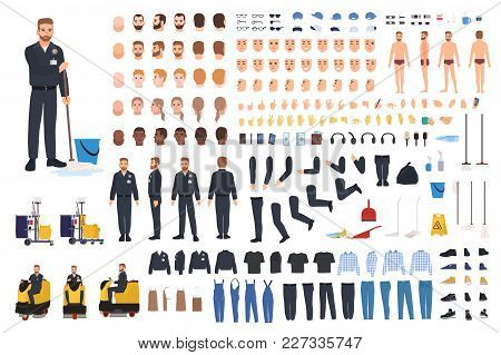 Cleaning Service Worker Creation Set Or Constructor. Bundle Of Janitor Body Parts, Gestures, Uniform