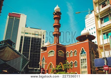 Kuala Lumpur Cityscape. Religious And Modern Architecture. Travel To Malaysia. Brown Mosque Masjid I