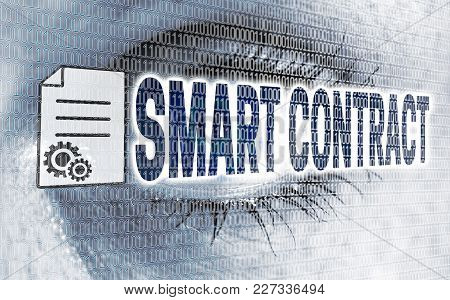Smart Contract Eye With Matrix Looks On Viewer Concept.