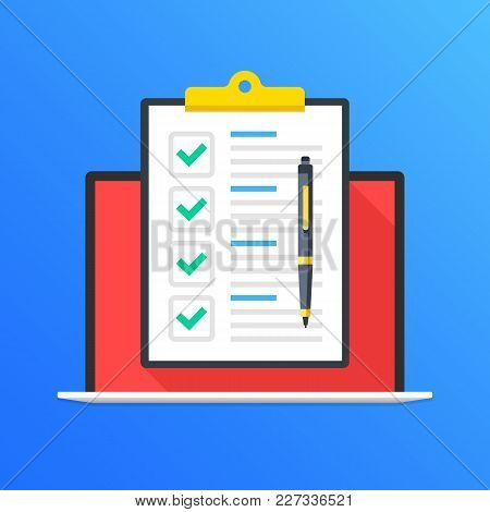 Checklist On Laptop Screen. Laptop And Clipboard With Green Check Marks And Pen. Online Survey, Quiz