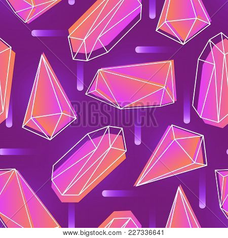 Abstract Seamless Pattern With Neon Colored Crystals, Minerals Or Faceted Stones And Their Outlines