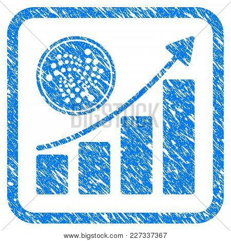 Iota Coin Growth Chart Rubber Seal Stamp Imitation. Icon Vector Symbol With Grunge Design And Dust T