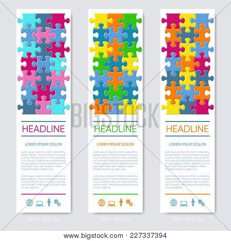 Modern Vector Vertical Jigsaw Puzzle Banners Three Options
