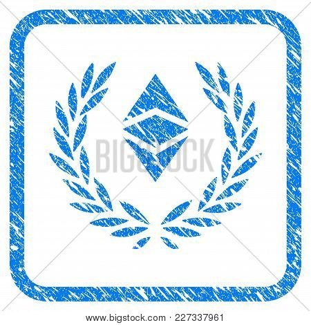 Ethereum Classic Laureal Wreath Rubber Seal Stamp Watermark. Icon Vector Symbol With Grunge Design A