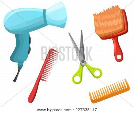 Set Of Styling Objects Hair Dryer, Brush, Scissors For Salon, Shop Isolated On White Background.