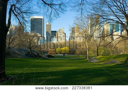 Skyline Of Midtown Manhattan From Central Park, New York City, New York, Usa