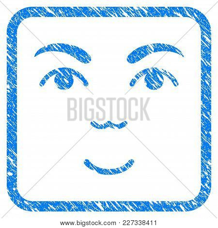 Face Rubber Seal Stamp Imitation. Icon Vector Symbol With Grunge Design And Dust Texture Inside Roun