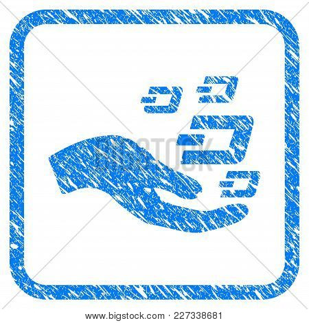 Hand Offer Dash Symbols Rubber Seal Stamp Imitation. Icon Vector Symbol With Grunge Design And Dirty