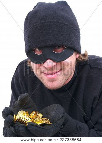 A Masked Criminal Stealing Gold Isolated On White.