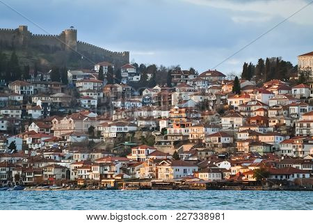 Ohrid Lake And The Old Part Of Ohrid City In Macedonia