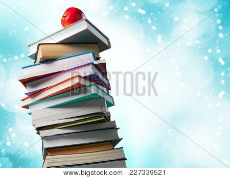 Color Colorful Stack Books Red Blue Background