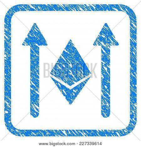 Ethereum Crystal Send Arrows Rubber Seal Stamp Imitation. Icon Vector Symbol With Grunge Design And