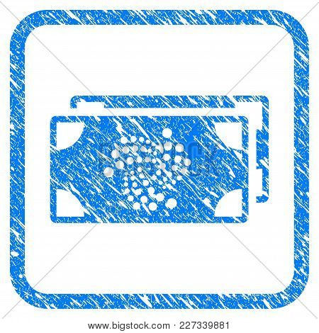 Iota Bank Bills Rubber Seal Stamp Imitation. Icon Vector Symbol With Grunge Design And Dirty Texture