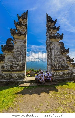 BALI INDONESIA - APRIL 27: People in Lempuyang temple on April 27, 2016 in Bali Island, Indonesia.