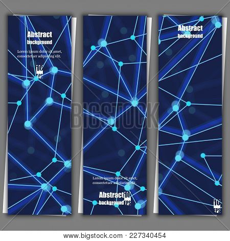 Geometric Abstract Background With Connected Line And Dots. Structure Molecule And Communication. Se