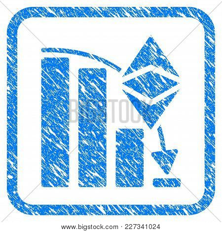 Ethereum Classic Falling Chart Rubber Seal Stamp Imitation. Icon Vector Symbol With Grunge Design An
