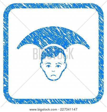 Head Umbrella Rubber Seal Stamp Imitation. Icon Vector Symbol With Grunge Design And Dirty Texture I